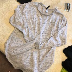 Curved hem grey hoodie sweatshirt